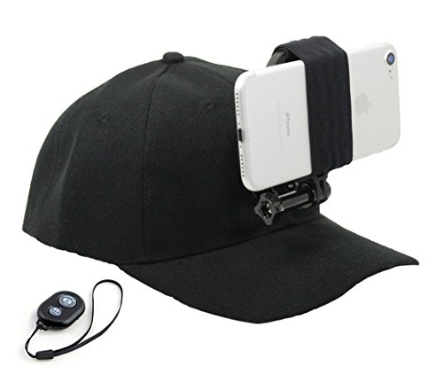 OCTO Mount - Baseball Hat Compatible with Smartphone/Cellphone/GoPro Camera Head Mount with Remote iOS/Android Bluetooth Shutter. Any Phone or GoPro Camera Fits, Regardless of Case.