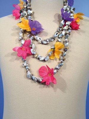 Muschelkette Halskette Blümchen Anemonen Hawaii Pink Strand Sommer Karibik