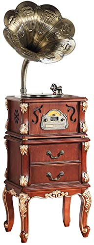 TYX-SS Vinyl Bluetooth Record Player Retro Big Horn Antique Wooden Gramophone with Table Stand Vinyl Playback CD Playback Wireless Bluetooth-A