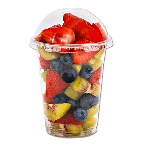 12 oz Clear Plastic Cups with Dome Lids No Hole - (30 Sets) PET Disposable Dessert Cups, Parfait cups for Ice Cream, Iced Cold Coffee Drinks, Cupcake. Fruit Cups for Kids bday Party with Nice Sealing