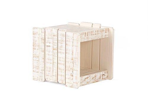 massivum Beistelltisch Safari 40x40x43 cm Pinie weiß lackiert