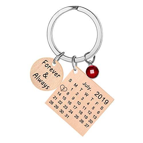 Grabado Personalizado Personalizado Calendario Fecha y Mensaje Llavero con Piedra de Nacimiento de Acero Inoxidable Llavero y Llavero Aniversario Regalo conmemorativo (Oro Rosa)