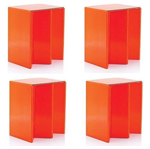 4 Pack de Plegable cartón portátil asiento sillas NARANJA