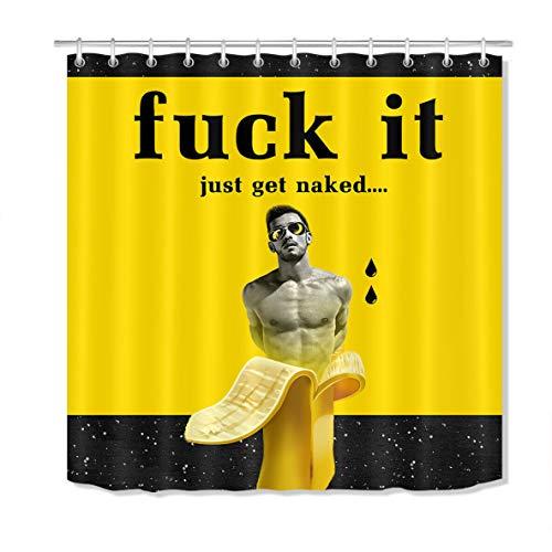 Nyngei Lustiger Bananen-nackter Mann-Duschvorhang stellte Polyester-Gewebe-Badezimmer-Zusätze EIN 183X183CM