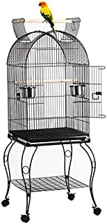 Yaheetech 59-inch Rolling Standing Medium Dome Bird Cage Open Top Quaker Parrot Cockatiel Sun Parakeet Green-Cheek Conure Cage with Detachable Stand