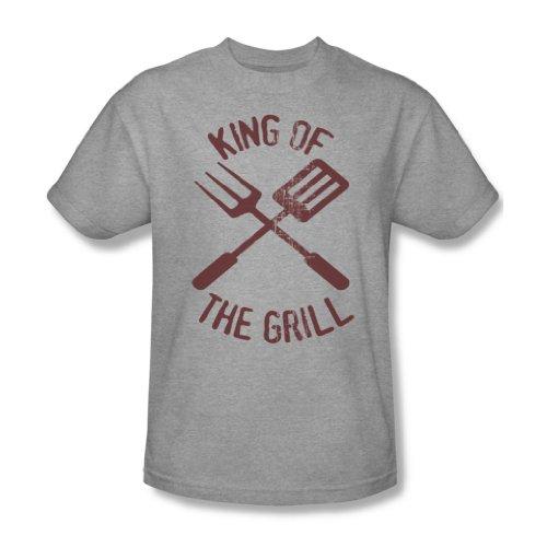 King Of The Grill - Heather Erwachsene Kurzarm T-Shirt für Männer, XX-Large, Heather