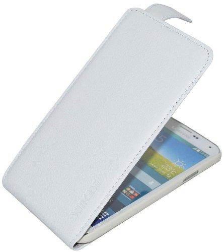 Suncase Flip-Style kompatibel für Samsung Galaxy S5 (SM-G900F) - S5 Neo (SM-G903F) Ledertasche Tasche *ECHT Leder* Handytasche Case Etui Hülle (Original vollnarbig-Weiss