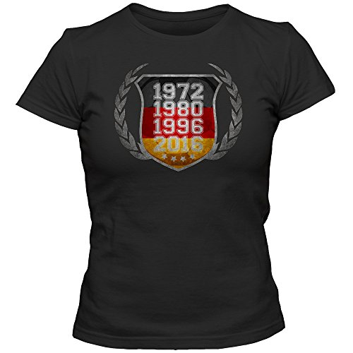 Deutschland Europameister EM 2016#3 T-Shirt | Fußball | Damen | Die Mannschaft | Fanshirt | Trikot | Vintage | Grunge | Nationalmannschaft, Farbe:Schwarz (Deep Black L191);Größe:L