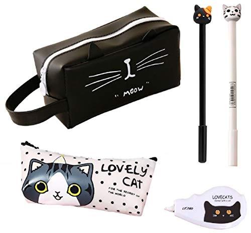 猫づくし文具5点セット 大容量猫ペンケース ポーチ シリコン素材で防水効果 ボールペン 修正テープ 化粧ポーチ (黒B)