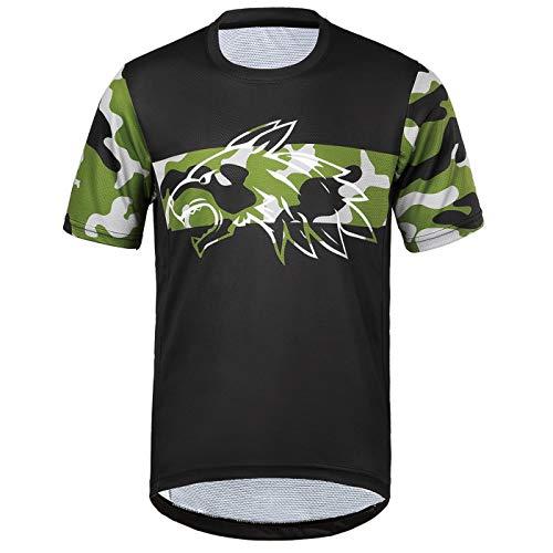 Herren Kurzarm T-Shirt leichte atmungsaktive bequeme Laufsport Radtrikots XL, Black-camo/2