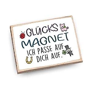 Handmade Magnet aus Buchenholz mit Spruch | Glücksmagnet – ich pass auf dich auf