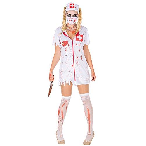 TecTake dressforfun Sexy Zombie Krankenschwester Stretch Kleid Damen Kostüm inkl. Kniestrümpfe, Mundschutz & Haarreifen (M | Nr. 300063)