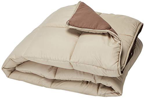 LINENSPA All-Season Reversible Down Alternative Quilted Comforter - Corner Duvet Tabs - Hypoallergenic - Plush Microfiber Fill - Box Stitched - Machine Washable - Sand / Mocha - Twin XL