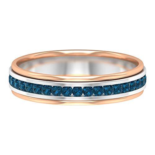 Anillo de boda de dos tonos, anillo de topacio azul de 1/4 quilates, anillo de eternidad conjunto de canales, anillo de piedra natal de diciembre, 10K Oro blanco, Size:EU 52