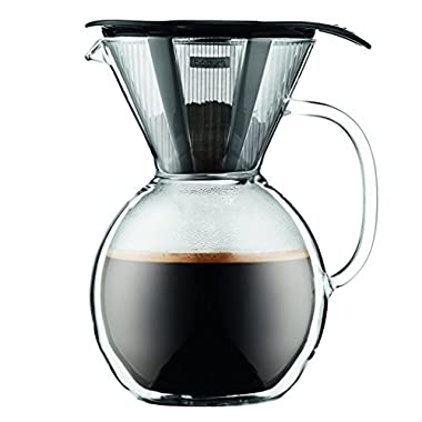 Bodum 11672-018 Cup Double Wall Pour Over Coffee Maker with Glass Handle, Black