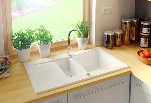 Granitspüle mit Siphon Madrid Einbauspüle Spülbecken Weiß Küchenspüle Unterschrank Küche ab 60cm Antibakteriell Spüle aus Granit mit Ablaufgarnitur Drehexcenter und Überlauf von Primagran