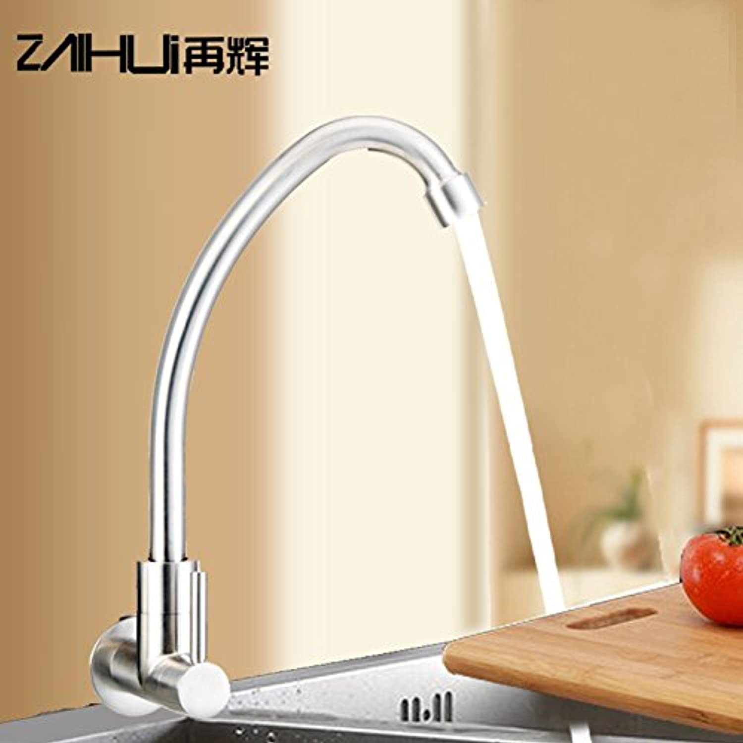 Commercial Single Lever Pull Down Kitchen Sink Faucet Brass ConstructedSingle Cold Faucet Full 304 Stainless Steel Faucet Kitchen Sink Single Cold Faucet Factory Direct into The Wall,Regular