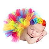 Hifot Recién Nacido Bebé Niña Falda de Tutú + Cinta de Pelo de Flores Accesorios de Fotografía Prop Trajes Ropa para Fiestas Cumpleaños Boda
