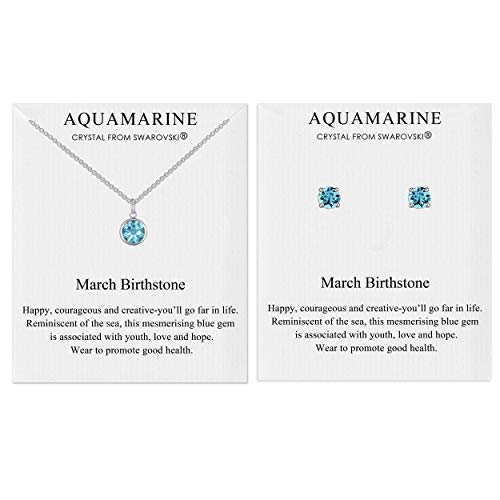 Philip Jones March (Aquamarine) Birthstone Necklace & Earrings Set Created with Austrian Crystals