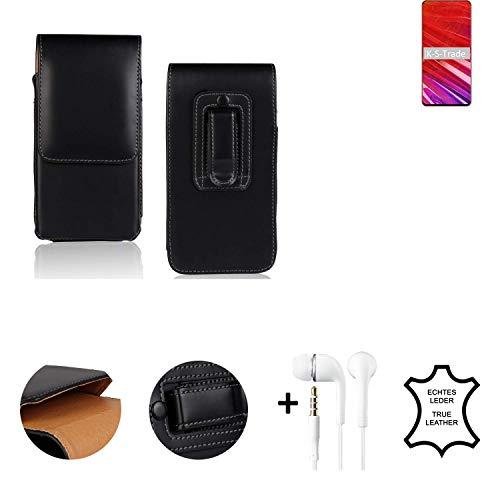 K-S-Trade® Leder Gürtel Tasche + Kopfhörer Für Lenovo Z5 Pro GT Seitentasche Belt Pouch Holster Handy-Hülle Gürteltasche Schutz-Hülle Etui Schwarz 1x