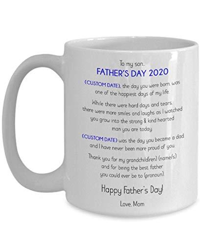 N\A Taza de café Personalizada para el día del Padre de mi Hijo 2020, Regalo de mamá a Hijo, Taza sincera, Taza de café del día del Padre