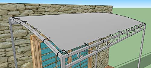 TUTTOPERGOLE Ersatzdach für Anbau Pergoladach Bezug Pavillon PVC 650 gr-m2 (3x4 m, Grau)