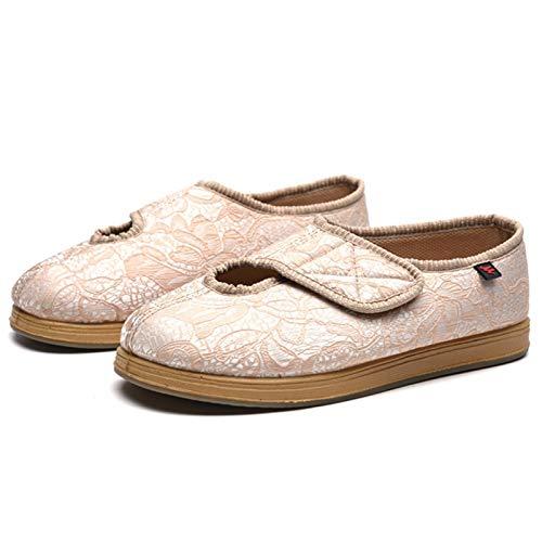 Koyike Zapatillas unisex diabéticas, zapatos terapéuticos cerrados, zapatillas de edema con lana cálida, zapatos de salud antideslizantes para artritis, edema, beige, 36