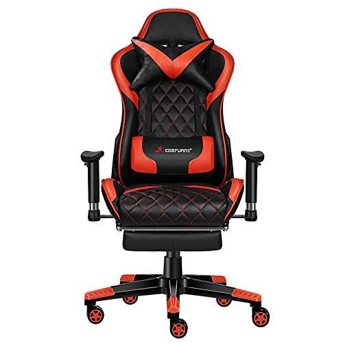 JL Comfurni Gaming Stuhl Bürostuhl Ergonomischer Computerstuhl mit Fußstütze 360° drehbar Racing Lehnstuhl Chefsessel höhenverstellbar Schreibtischstuhl mit verstellbaren Armlehnen aus Kunstleder Rot