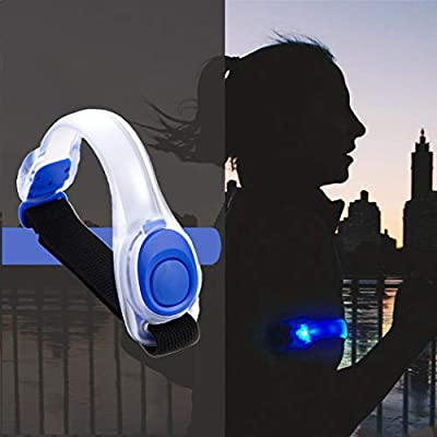 Genbree LED Light Up Armband Reflective Adjustable Wearable Silicone Running Gear Night Safety Wrist Band for Running Jogging Walking Cycling Concert Camping Outdoor Sports 1Pc (Blue)