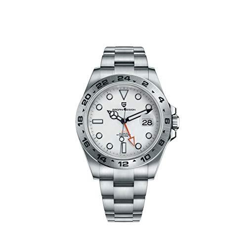 Pagani Design GMT Reloj Automático para Hombres Correa de Acero Inoxidable Calendario Luminoso Negocio Reloj de Buceo Casual para Hombres 1682
