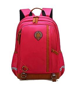 Mochilas Escolares Mochilas Grande Mochila de Viaje Casual Bolso con Estuches Escolares para Mujer y Hombre Rojo Grande L