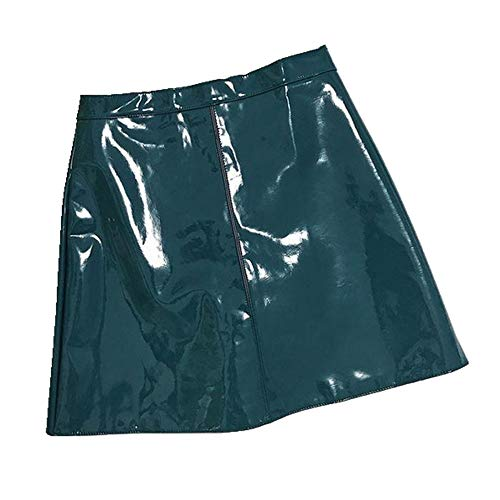 U/A Koreanische Version des High Waist Rock Damen Rock Hell Lack Leder Kurz Rock Rock Sommer Neu Anti-Glare A-Linie Rock Gr. 40, blau