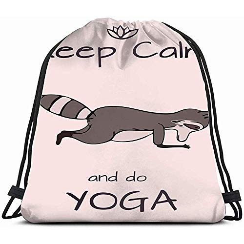 OUSHENGMAOYI Personalisierbare Drawsting Taschen, Design Karte Schablone Handgezeichnet Waschbär Tiere Wildtiere Tiersport Freizeit Kordelzug Rucksack Gym Dance Bag