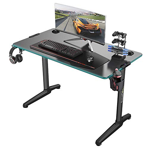 EE EUREKA ERGONOMIC Gaming Desk 44 inch, T-Shaped Home Gaming Computer Desk with RGB Light Free Mouse Pad Cup Holder, Black