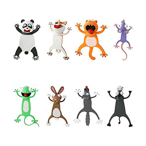 8PCS Wacky Bookmark Palz - More Fun Reading, 3D Cartoon Squashed Animal Bookmarks Novelty Funny Cute Stationery, Christmas Birthday Party Favors Gift for Kids Students
