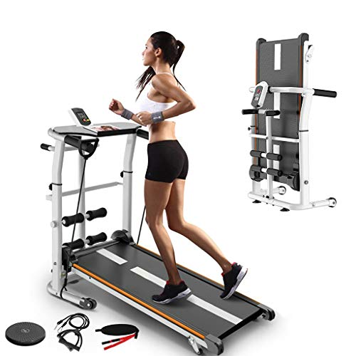 Folding Treadmill,4-in-1 Compact Manual Walking Treadmill with Resistance...