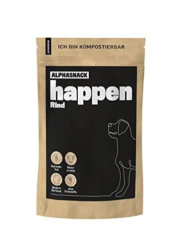 alphazoo Happen Hundeleckerli getreidefrei | Fleischsnack zur Belohnung und Training mit Monoprotein, ideal für mittlere und große Hunde, Verschiedene Geschmacksrichtungen (Rind)