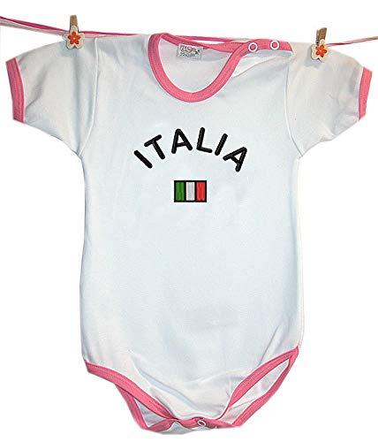 Zigozago - Body Bèbè à Manches Courtes pour bébé avec Broderie Italie Taille: 3-6 Mois - Couleur: Rose - 100% Coton
