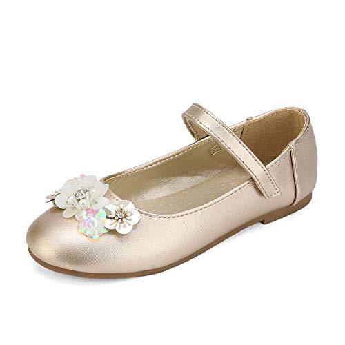 DREAM PAIRS Angie-1 Mary Jane Bailarina Zapatos Planos Correa para Niña Gold 24 EU/7 US Toddler