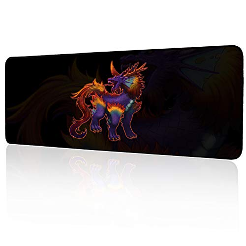 Extended Large Gaming Mouse Pad,Non-Slip Rubber Mouse Mat for PC and Laptop,Mythical Beast Desk Pad,Office & Home Keyboard Mat 800 x 300mm / 31.5×11.8 inches(B)