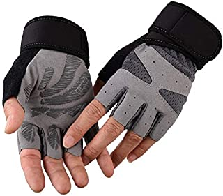 TOOGOO Half Finger Fitness Outdoor Gloves Men and Women Long Wrist Protection Strength Training Breathable Non-Slip Sports Gloves Gray M