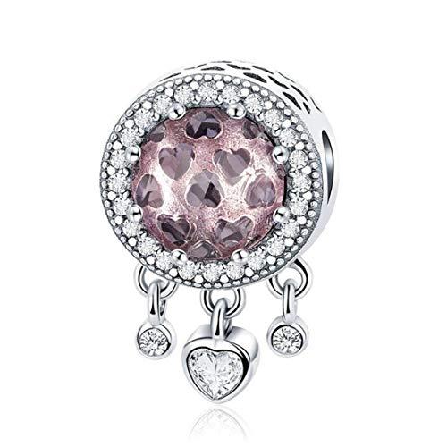 ZiNuo Charm in argento Sterling 925 a forma di cuore con acchiappasogni, verde blu e rosa, per braccialetti e Argento, colore: Pietra portafortuna a forma di cuore rosa., cod. SC-1058
