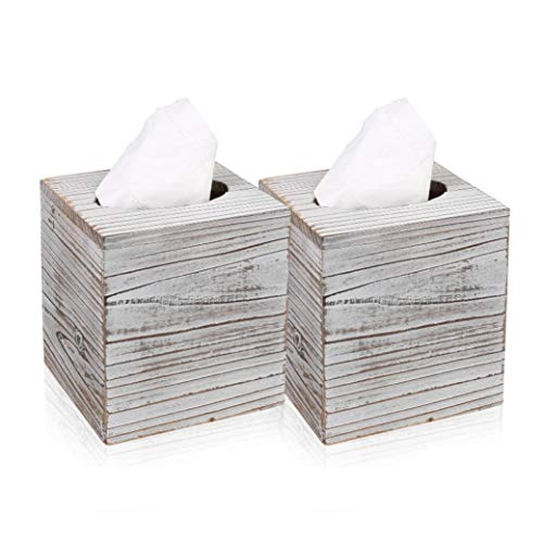 Rustic White Barnwood Tissue Box Cover: Tissue Cube Box Includes Slide-Out Bottom Panel. Perfect for Farmhouse Bathroom Decor (Pack of 2)