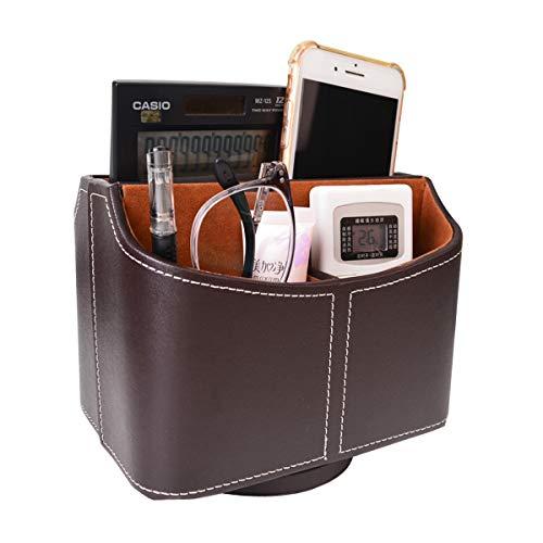 Bleiou Organizador de cuero sintético con control remoto de 360 grados, organizador de escritorio para controlador, medios, calculadora, lentes de teléfono móvil y almacenamiento de lápiz (marrón)