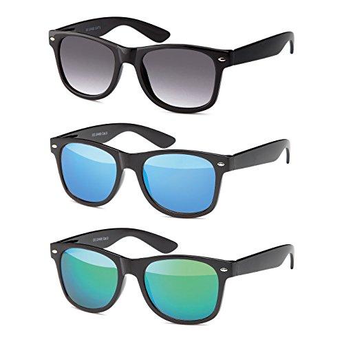 MOKIES Unisex Sonnenbrillen - UV400 Filterkategorie 3 CE Kennzeichnung - Polycarbonat - mit Federscharnier - A-SET Grau verlaufend, Blau, Grün