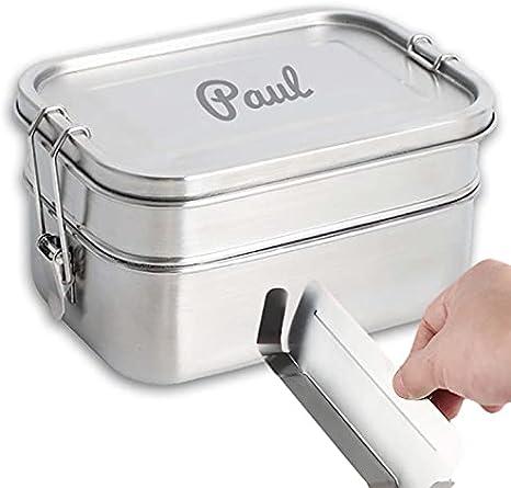 Isonio Edelstahl Lunchbox mit Lasergravur, inkl. Abtrennung und Dichtring, Brotdose Bento Box mit Namensgravur (M, Edelstahl Doppeldecker)