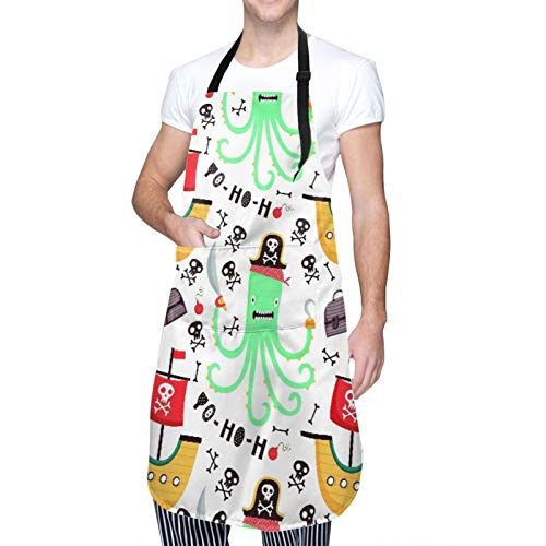 DAHALLAR Ajustable Colgante de Cuello Personalizado Delantal Impermeable,Diseño pirata para cartel de tipografía,Babero de Cocina Vestido para Hombres Mujeres con 2 Bolsillos Centrales