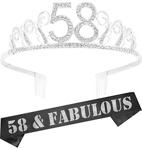 58th Birthday Gifts for Women, 58th Birthday Tiara and Sash, HAPPY 58th Birthday Party Supplies, 58th Black Satin Sash and Crystal Tiara Birthday Crown for 58th Birthday Party Supplies and Decorations