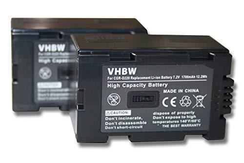 vhbw 2X baterías Compatible con Hitachi PV-DV100, PV-DV100K, PV-DV200, PV-DV200K, PV-DV400 cámara de vídeo, videocámara (1700mAh, 7,2V, Li-Ion)