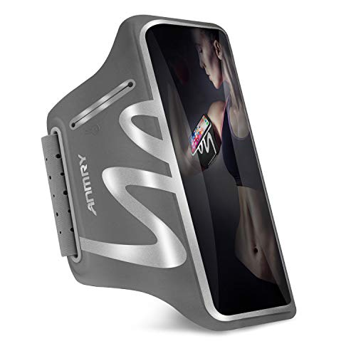 ANMRY Running Cell Phone Armband for iPhone 11 Pro Max Xs Max XR X 8 7 6s Plus,Galaxy S10 S9 S8 S7 S6 Edge Note 10 9, LG G6 G5, Phone Running Holder for Running Hiking Biking with Key Holder - Gray